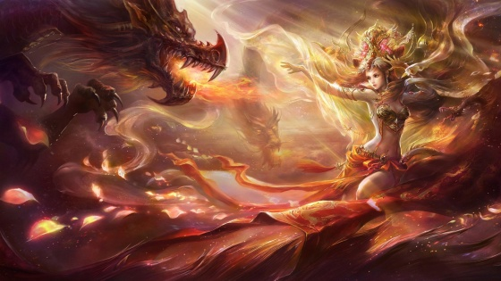 Fantasy-girl-dance-with-dragon_1920x1080